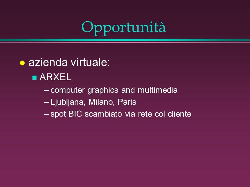 Opportunità l azienda virtuale: n ARXEL –computer graphics and multimedia –Ljubljana, Milano, Paris –spot BIC scambiato via rete col cliente