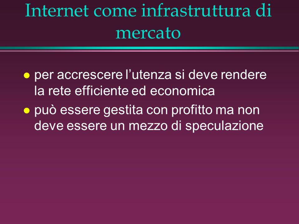 Internet come infrastruttura di mercato l per accrescere l'utenza si deve rendere la rete efficiente ed economica l può essere gestita con profitto ma non deve essere un mezzo di speculazione