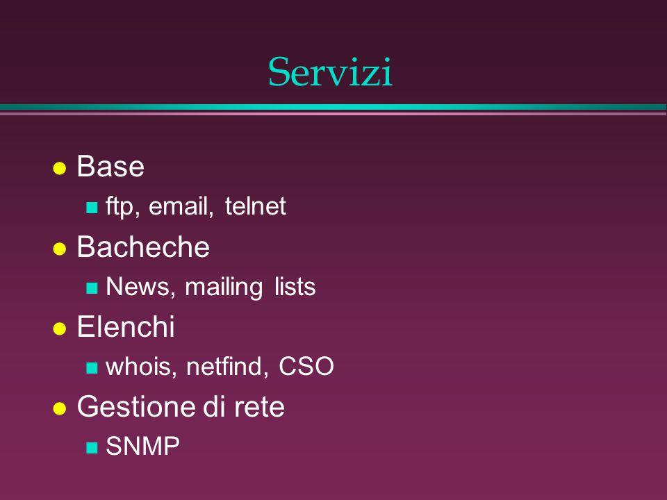 Servizi l Base n ftp, email, telnet l Bacheche n News, mailing lists l Elenchi n whois, netfind, CSO l Gestione di rete n SNMP