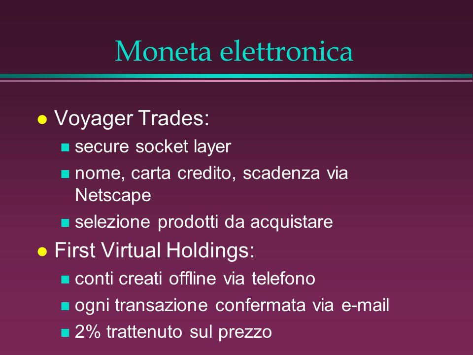 Moneta elettronica l Voyager Trades: n secure socket layer n nome, carta credito, scadenza via Netscape n selezione prodotti da acquistare l First Virtual Holdings: n conti creati offline via telefono n ogni transazione confermata via e-mail n 2% trattenuto sul prezzo