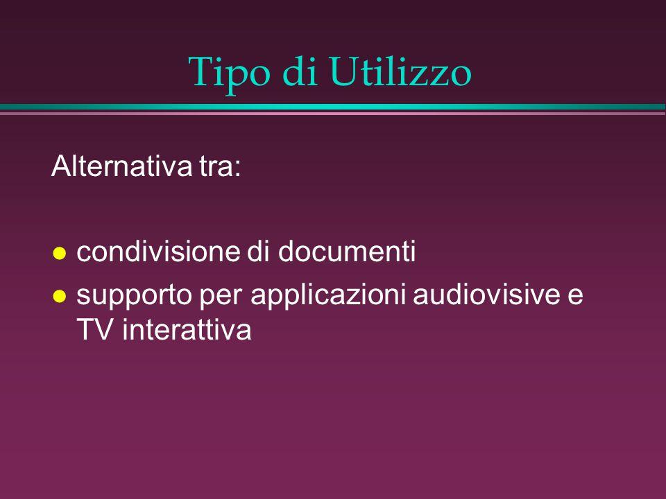 Tipo di Utilizzo Alternativa tra: l condivisione di documenti l supporto per applicazioni audiovisive e TV interattiva