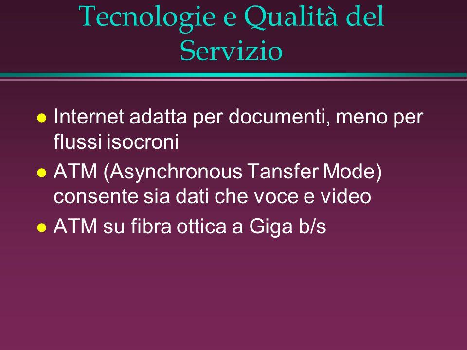 Tecnologie e Qualità del Servizio l Internet adatta per documenti, meno per flussi isocroni l ATM (Asynchronous Tansfer Mode) consente sia dati che voce e video l ATM su fibra ottica a Giga b/s