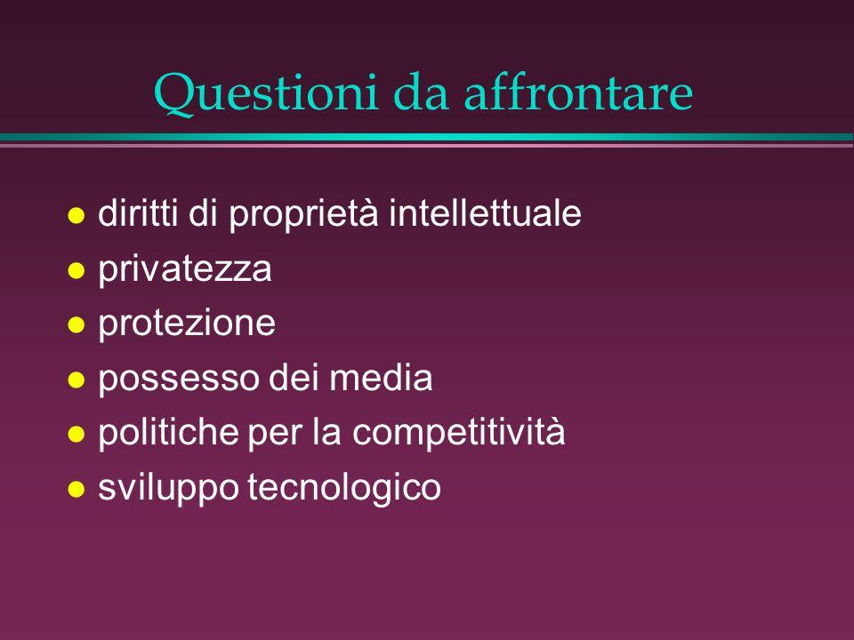 Questioni da affrontare l diritti di proprietà intellettuale l privatezza l protezione l possesso dei media l politiche per la competitività l sviluppo tecnologico