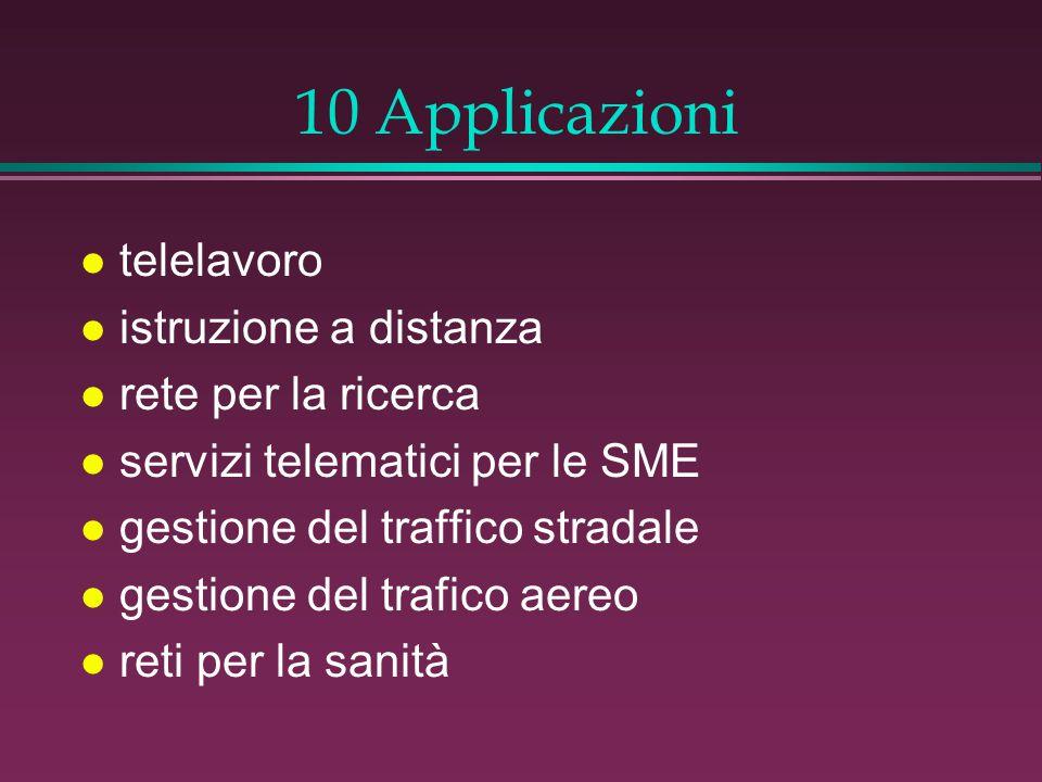10 Applicazioni l telelavoro l istruzione a distanza l rete per la ricerca l servizi telematici per le SME l gestione del traffico stradale l gestione del trafico aereo l reti per la sanità