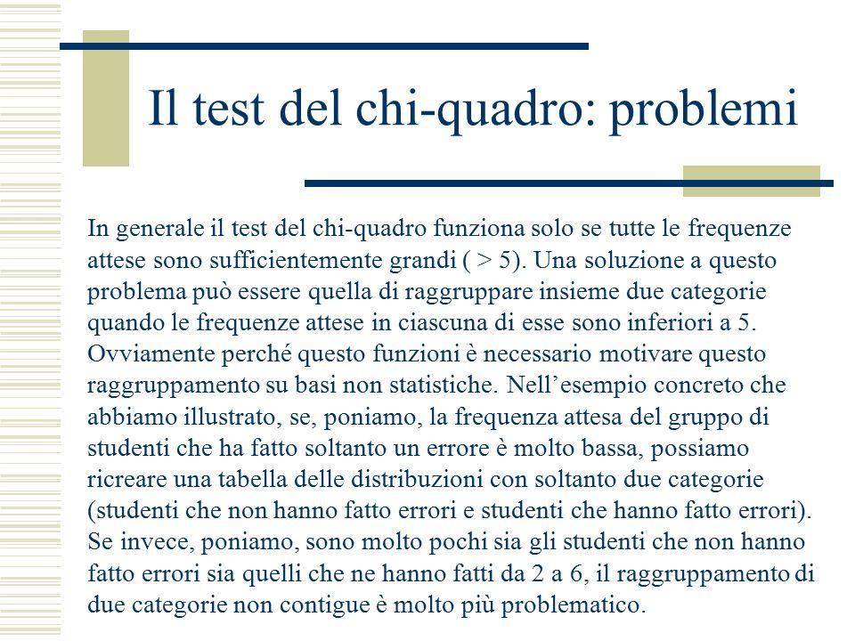 Il test del chi-quadro: problemi In generale il test del chi-quadro funziona solo se tutte le frequenze attese sono sufficientemente grandi ( > 5). Un
