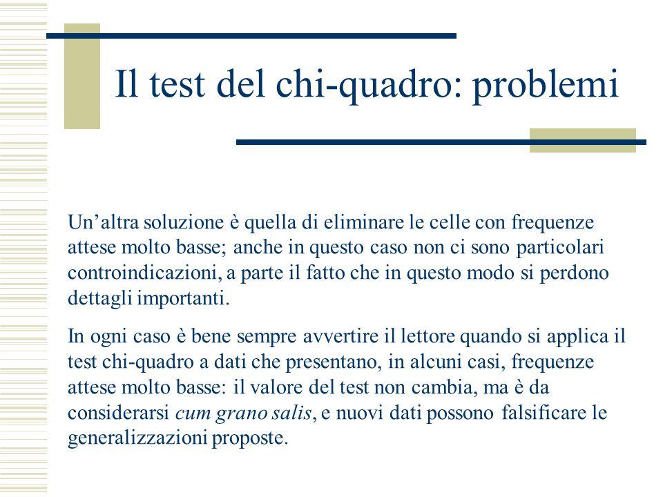 Il test del chi-quadro: problemi Un'altra soluzione è quella di eliminare le celle con frequenze attese molto basse; anche in questo caso non ci sono