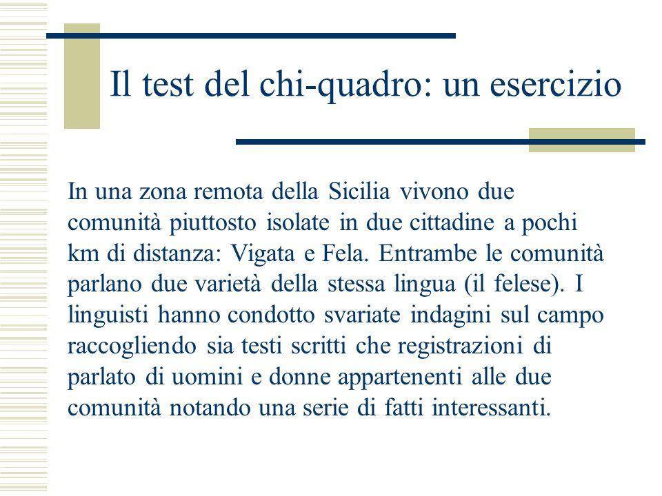 Il test del chi-quadro: un esercizio In una zona remota della Sicilia vivono due comunità piuttosto isolate in due cittadine a pochi km di distanza: Vigata e Fela.