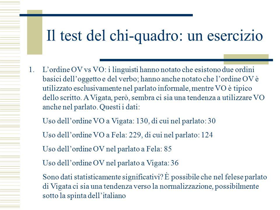 Il test del chi-quadro: un esercizio 1.L'ordine OV vs VO: i linguisti hanno notato che esistono due ordini basici dell'oggetto e del verbo; hanno anche notato che l'ordine OV è utilizzato esclusivamente nel parlato informale, mentre VO è tipico dello scritto.