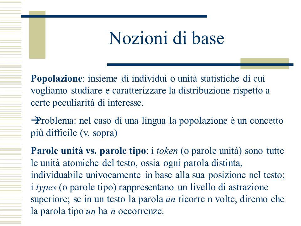 Nozioni di base Popolazione: insieme di individui o unità statistiche di cui vogliamo studiare e caratterizzare la distribuzione rispetto a certe peculiarità di interesse.