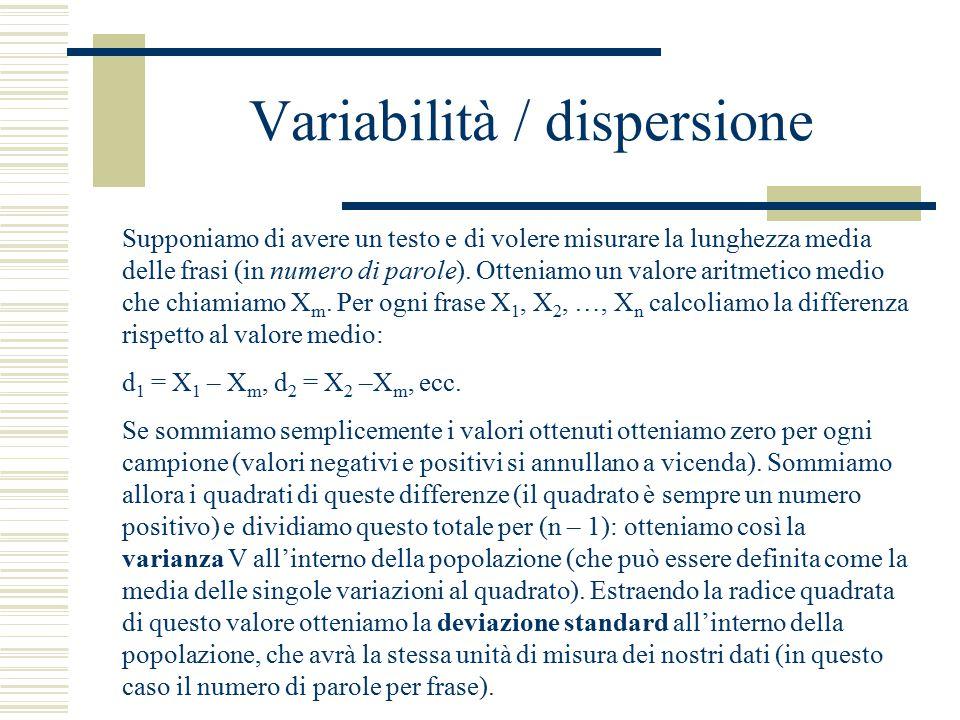 Variabilità / dispersione Supponiamo di avere un testo e di volere misurare la lunghezza media delle frasi (in numero di parole). Otteniamo un valore