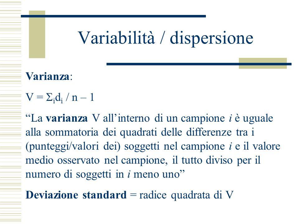 """Variabilità / dispersione Varianza: V =  i d i / n – 1 """"La varianza V all'interno di un campione i è uguale alla sommatoria dei quadrati delle differ"""