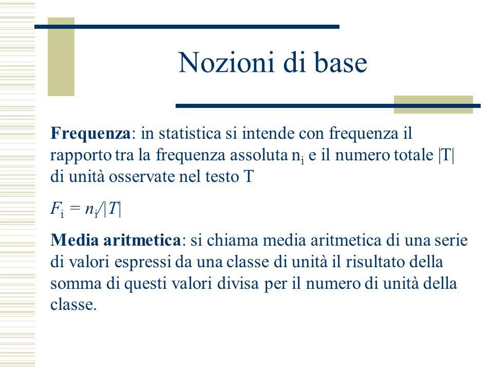 Nozioni di base Frequenza: in statistica si intende con frequenza il rapporto tra la frequenza assoluta n i e il numero totale |T| di unità osservate
