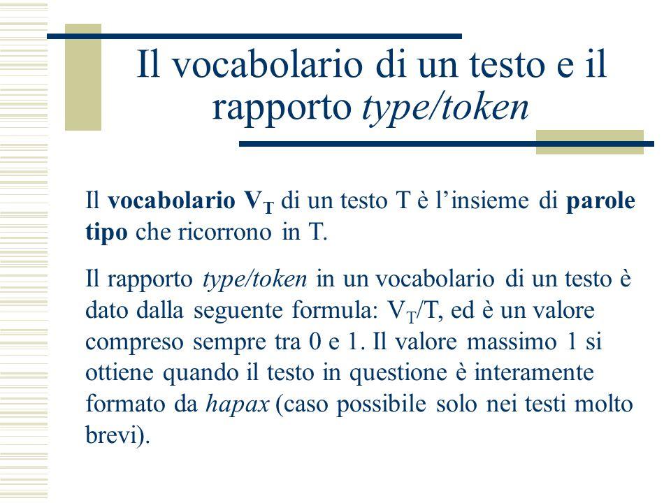 Il vocabolario di un testo e il rapporto type/token Il vocabolario V T di un testo T è l'insieme di parole tipo che ricorrono in T. Il rapporto type/t