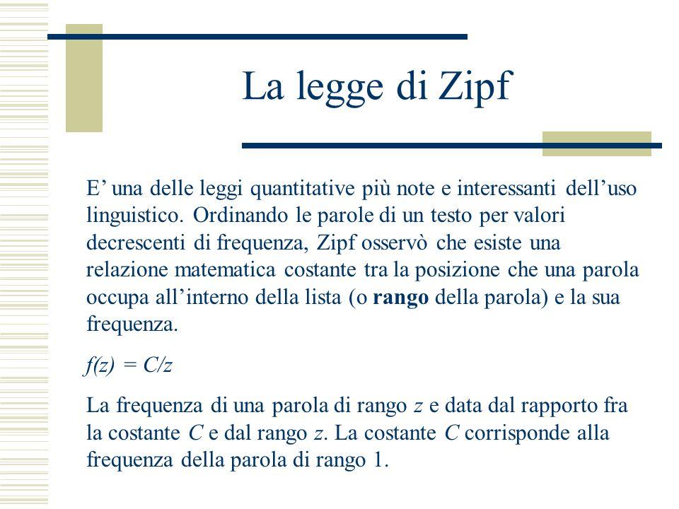 La legge di Zipf E' una delle leggi quantitative più note e interessanti dell'uso linguistico. Ordinando le parole di un testo per valori decrescenti