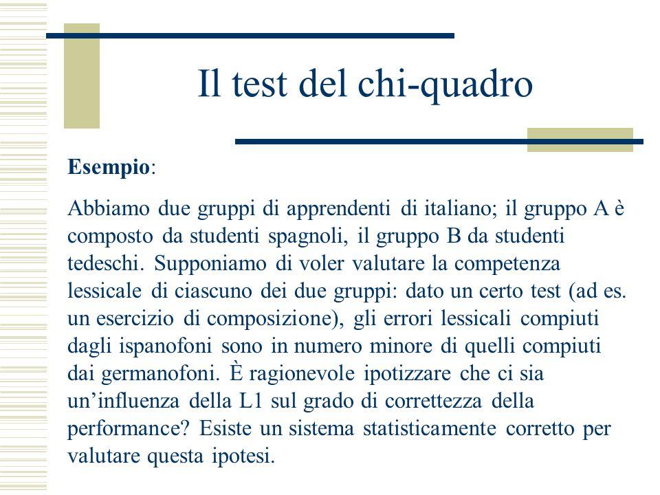 Il test del chi-quadro Esempio: Abbiamo due gruppi di apprendenti di italiano; il gruppo A è composto da studenti spagnoli, il gruppo B da studenti tedeschi.