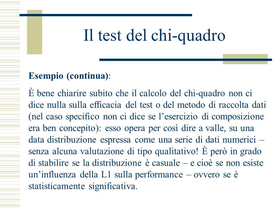 Il test del chi-quadro Esempio (continua): È bene chiarire subito che il calcolo del chi-quadro non ci dice nulla sulla efficacia del test o del metod