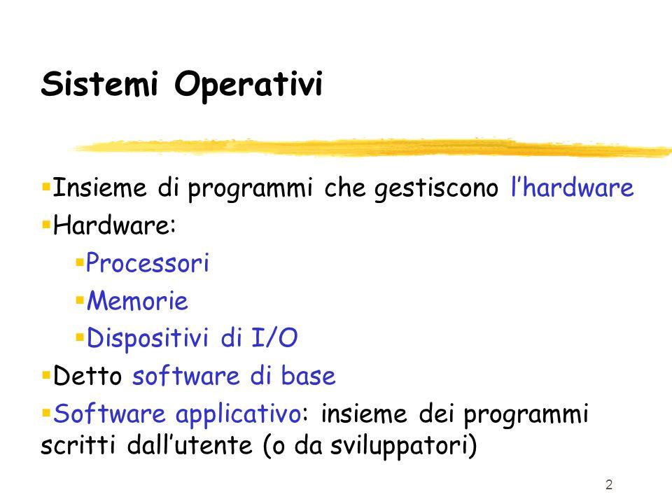 2 Sistemi Operativi  Insieme di programmi che gestiscono l'hardware  Hardware:  Processori  Memorie  Dispositivi di I/O  Detto software di base  Software applicativo: insieme dei programmi scritti dall'utente (o da sviluppatori)