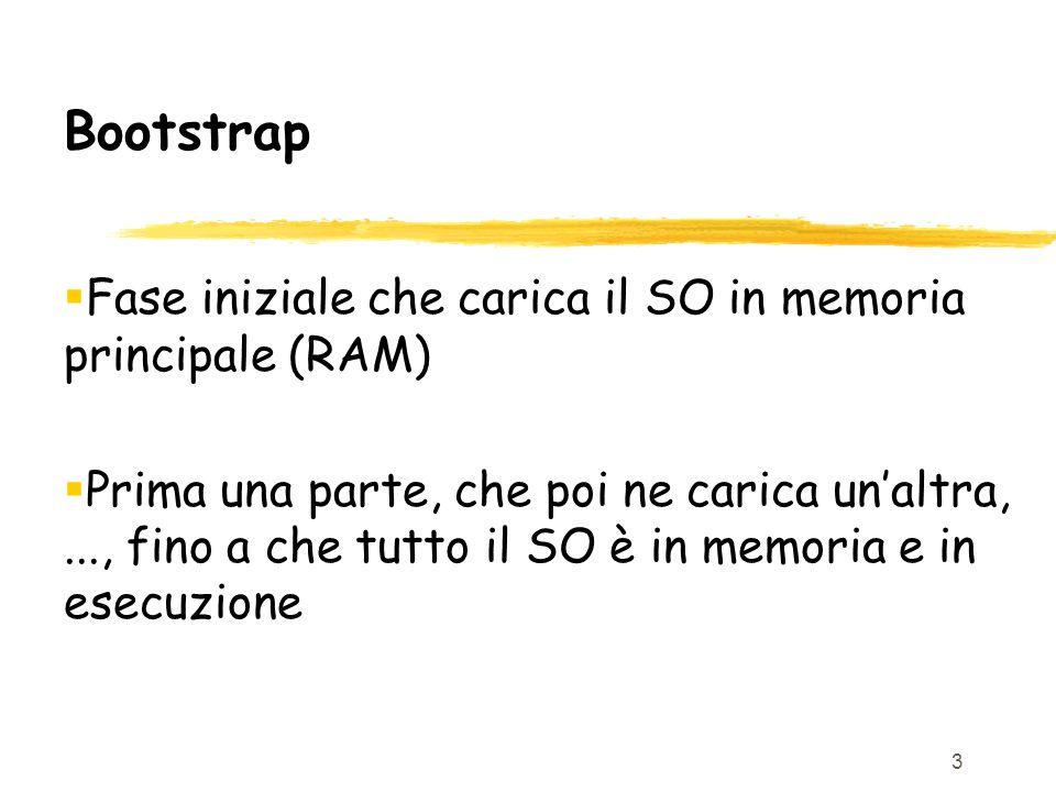 3 Bootstrap  Fase iniziale che carica il SO in memoria principale (RAM)  Prima una parte, che poi ne carica un'altra,..., fino a che tutto il SO è in memoria e in esecuzione