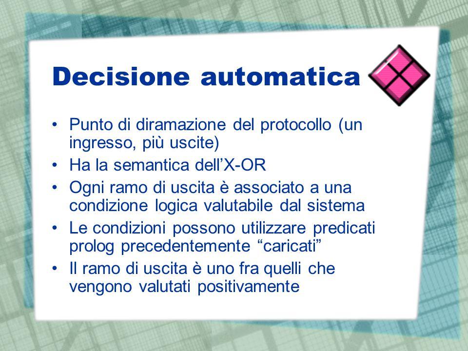 Decisione automatica Punto di diramazione del protocollo (un ingresso, più uscite) Ha la semantica dell'X-OR Ogni ramo di uscita è associato a una con