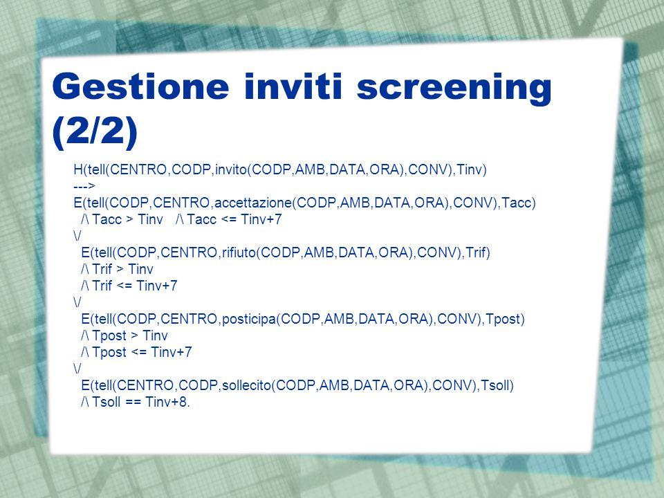 Gestione inviti screening (2/2) H(tell(CENTRO,CODP,invito(CODP,AMB,DATA,ORA),CONV),Tinv) ---> E(tell(CODP,CENTRO,accettazione(CODP,AMB,DATA,ORA),CONV)