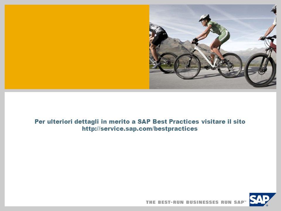 Per ulteriori dettagli in merito a SAP Best Practices visitare il sito http://service.sap.com/bestpractices