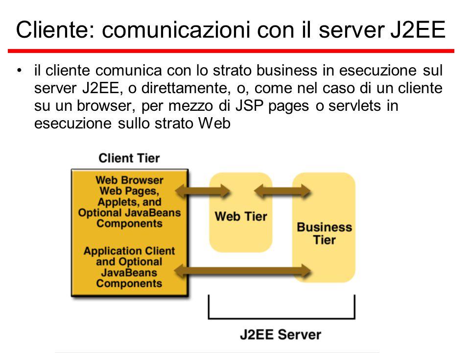 Cliente: comunicazioni con il server J2EE il cliente comunica con lo strato business in esecuzione sul server J2EE, o direttamente, o, come nel caso di un cliente su un browser, per mezzo di JSP pages o servlets in esecuzione sullo strato Web