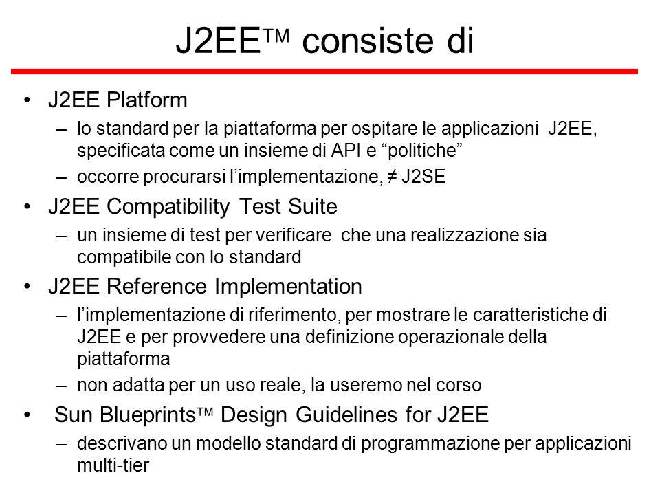 J2EE  consiste di J2EE Platform –lo standard per la piattaforma per ospitare le applicazioni J2EE, specificata come un insieme di API e politiche –occorre procurarsi l'implementazione, ≠ J2SE J2EE Compatibility Test Suite –un insieme di test per verificare che una realizzazione sia compatibile con lo standard J2EE Reference Implementation –l'implementazione di riferimento, per mostrare le caratteristiche di J2EE e per provvedere una definizione operazionale della piattaforma –non adatta per un uso reale, la useremo nel corso Sun Blueprints  Design Guidelines for J2EE –descrivano un modello standard di programmazione per applicazioni multi-tier
