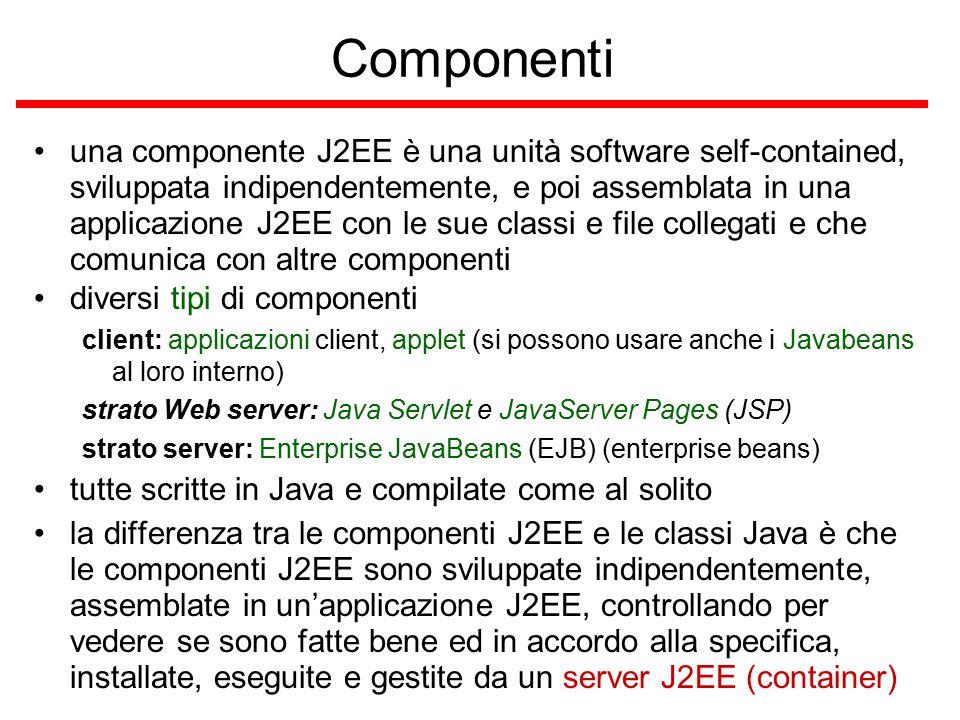 Componenti una componente J2EE è una unità software self-contained, sviluppata indipendentemente, e poi assemblata in una applicazione J2EE con le sue classi e file collegati e che comunica con altre componenti diversi tipi di componenti client: applicazioni client, applet (si possono usare anche i Javabeans al loro interno) strato Web server: Java Servlet e JavaServer Pages (JSP) strato server: Enterprise JavaBeans (EJB) (enterprise beans) tutte scritte in Java e compilate come al solito la differenza tra le componenti J2EE e le classi Java è che le componenti J2EE sono sviluppate indipendentemente, assemblate in un'applicazione J2EE, controllando per vedere se sono fatte bene ed in accordo alla specifica, installate, eseguite e gestite da un server J2EE (container)