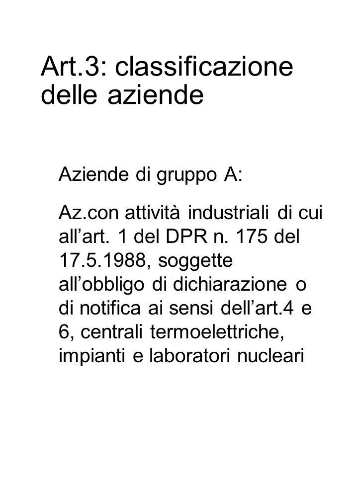 Art.3: classificazione delle aziende Aziende di gruppo A: Az.con attività industriali di cui all'art.