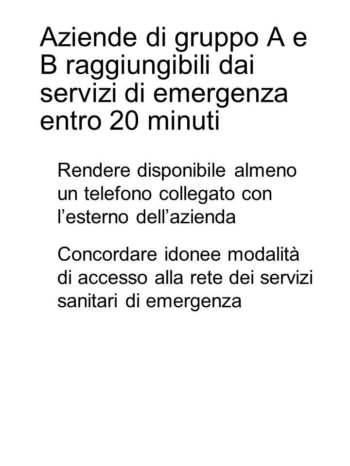 Aziende di gruppo A e B raggiungibili dai servizi di emergenza entro 20 minuti Rendere disponibile almeno un telefono collegato con l'esterno dell'azienda Concordare idonee modalità di accesso alla rete dei servizi sanitari di emergenza