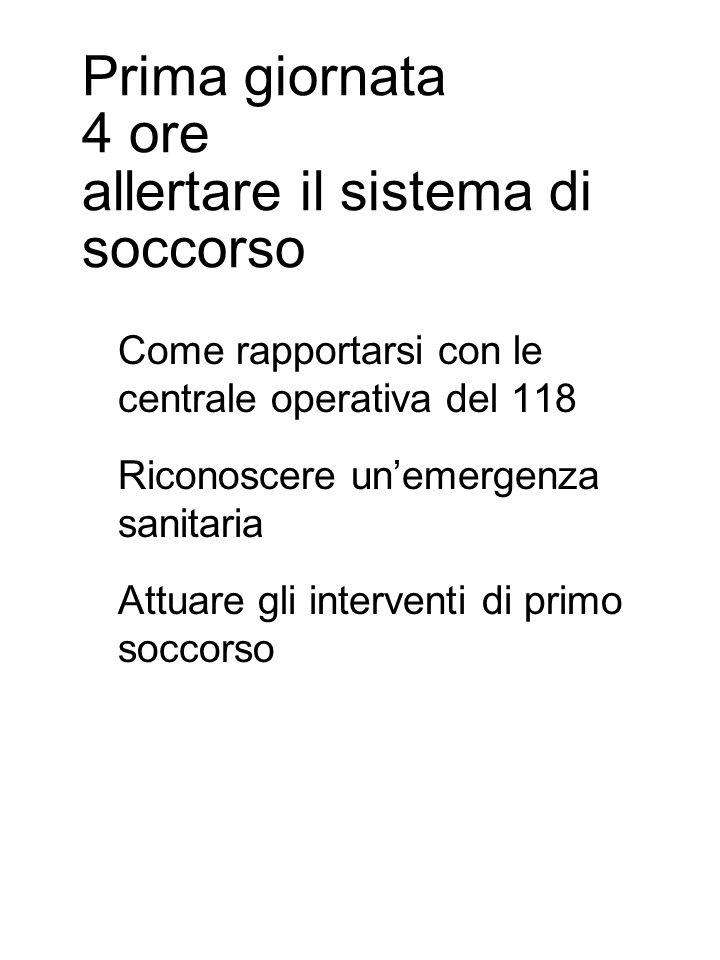 Prima giornata 4 ore allertare il sistema di soccorso Come rapportarsi con le centrale operativa del 118 Riconoscere un'emergenza sanitaria Attuare gli interventi di primo soccorso