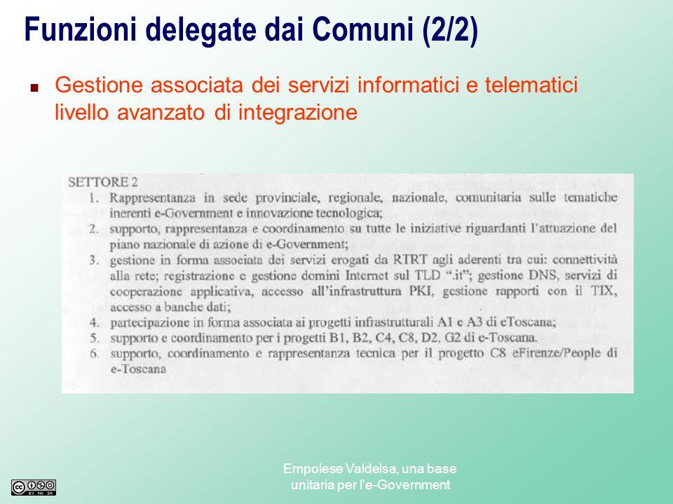 Empolese Valdelsa, una base unitaria per l e-Government Funzioni delegate dai Comuni (1/2) Gestione associata dei servizi informatici e telematici livello avanzato di integrazione