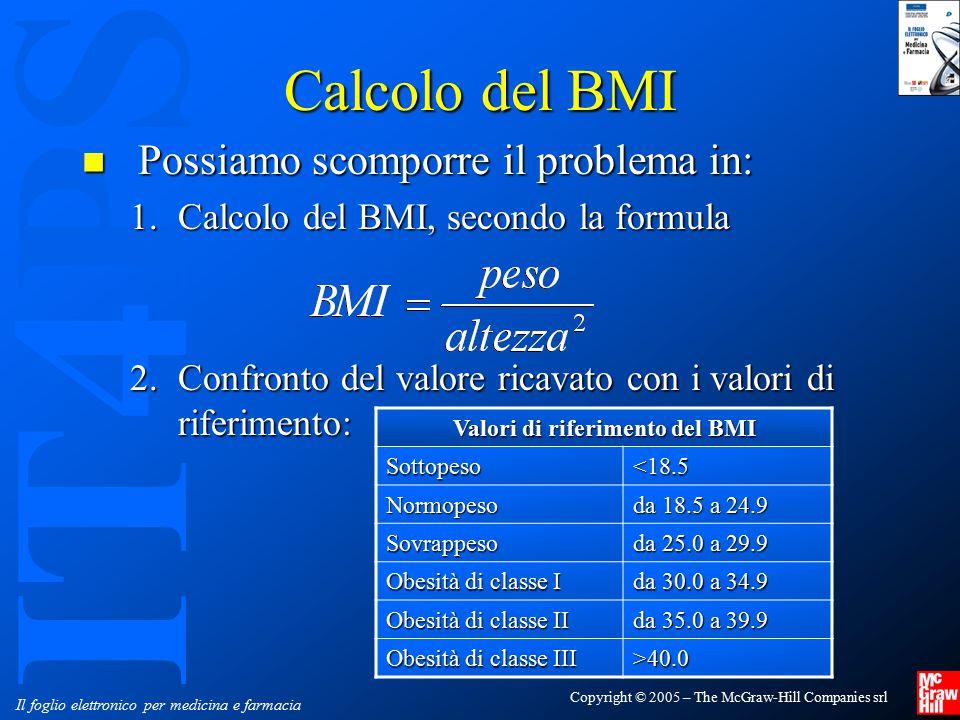 IT4PS Copyright © 2005 – The McGraw-Hill Companies srl Il foglio elettronico per medicina e farmacia Calcolo del BMI Possiamo scomporre il problema in