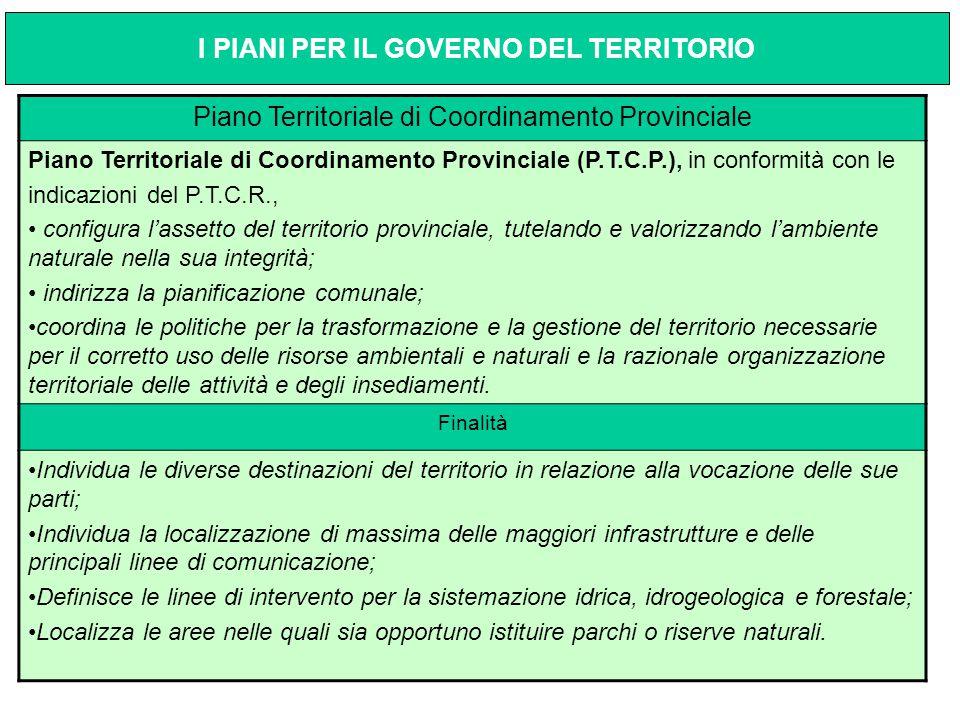 Piano Territoriale di Coordinamento Provinciale Piano Territoriale di Coordinamento Provinciale (P.T.C.P.), in conformità con le indicazioni del P.T.C