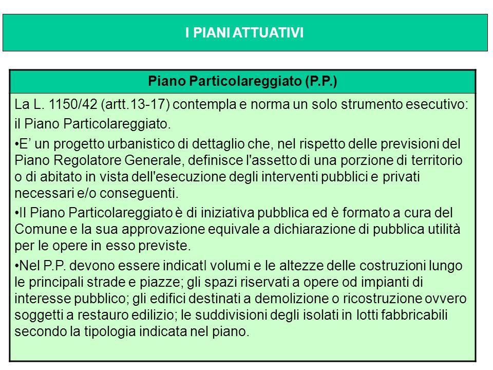 Piano Particolareggiato (P.P.) La L. 1150/42 (artt.13-17) contempla e norma un solo strumento esecutivo: il Piano Particolareggiato. E' un progetto ur