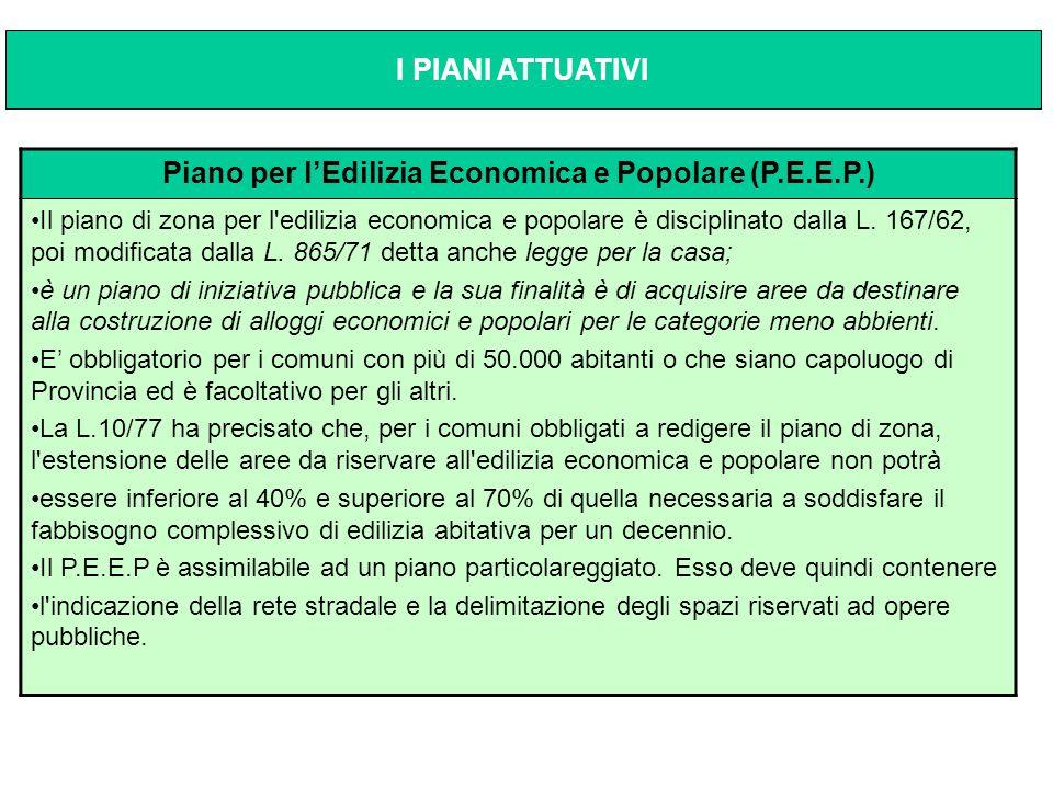 Piano per l'Edilizia Economica e Popolare (P.E.E.P.) Il piano di zona per l'edilizia economica e popolare è disciplinato dalla L. 167/62, poi modifica