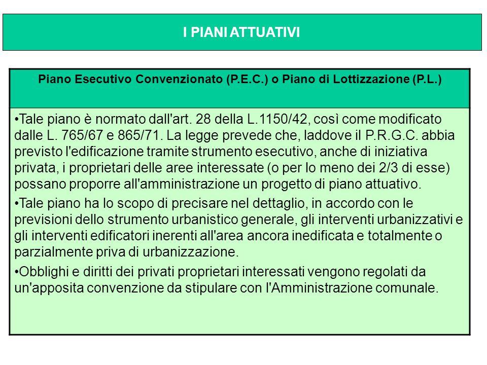Piano Esecutivo Convenzionato (P.E.C.) o Piano di Lottizzazione (P.L.) Tale piano è normato dall'art. 28 della L.1150/42, così come modificato dalle L