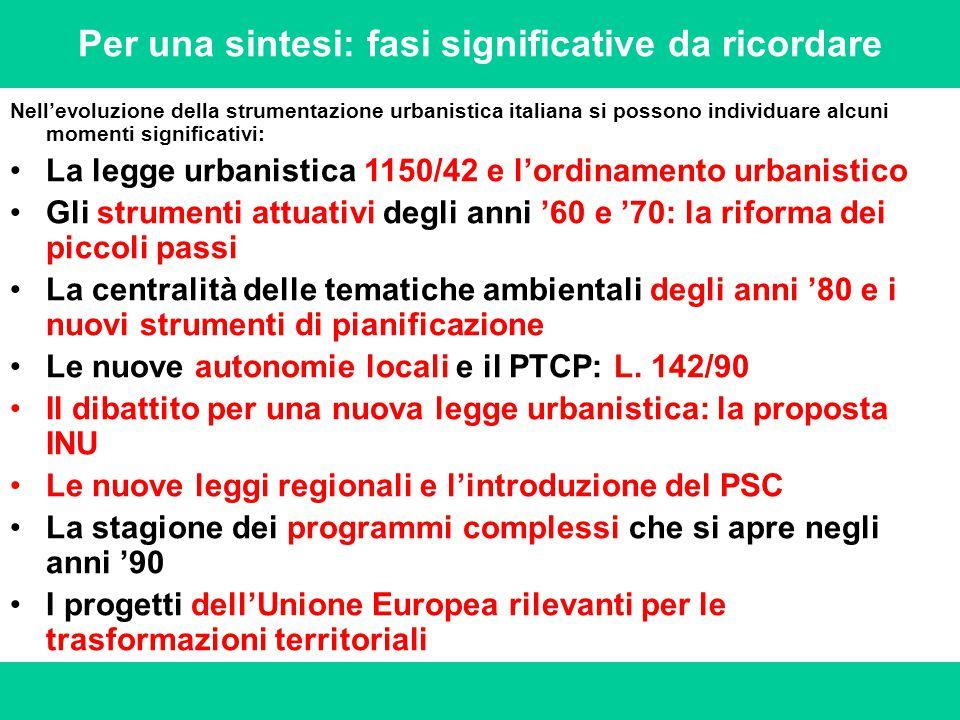 Per una sintesi: fasi significative da ricordare Nell'evoluzione della strumentazione urbanistica italiana si possono individuare alcuni momenti signi