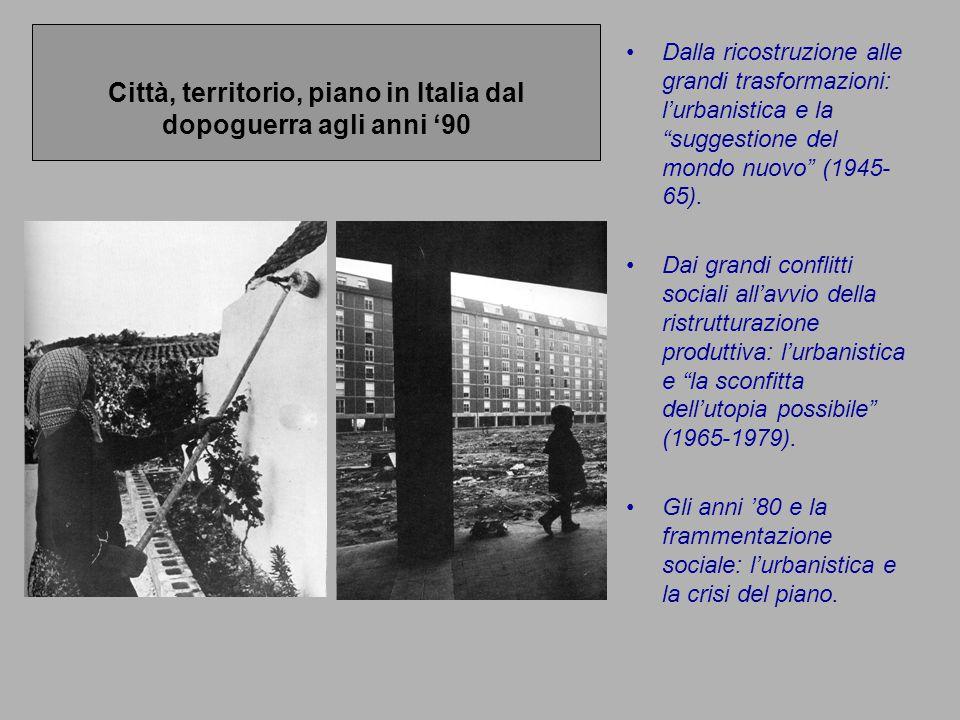 """Città, territorio, piano in Italia dal dopoguerra agli anni '90 Dalla ricostruzione alle grandi trasformazioni: l'urbanistica e la """"suggestione del mo"""