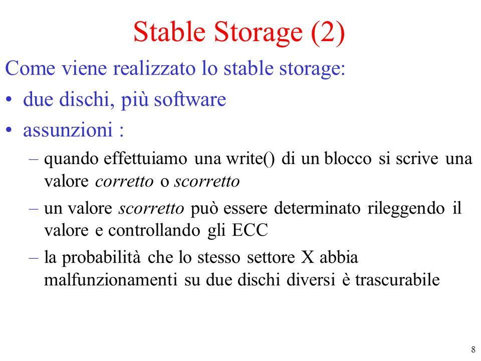 9 Stable Storage (3) Implementazione : –Ogni blocco viene implementato usando due blocchi con lo stesso indirizzo sui due dischi.