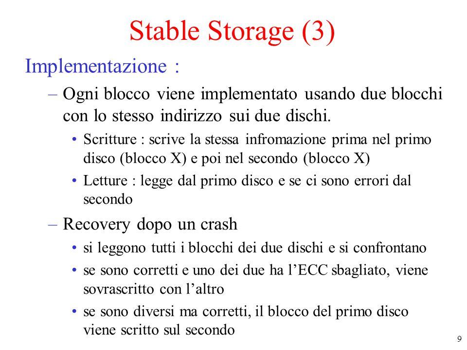 10 Stable Storage (4) –Casi possibili di crash in uno stable storage