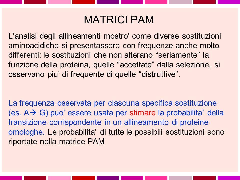 MATRICI PAM (Dayhoff et al.
