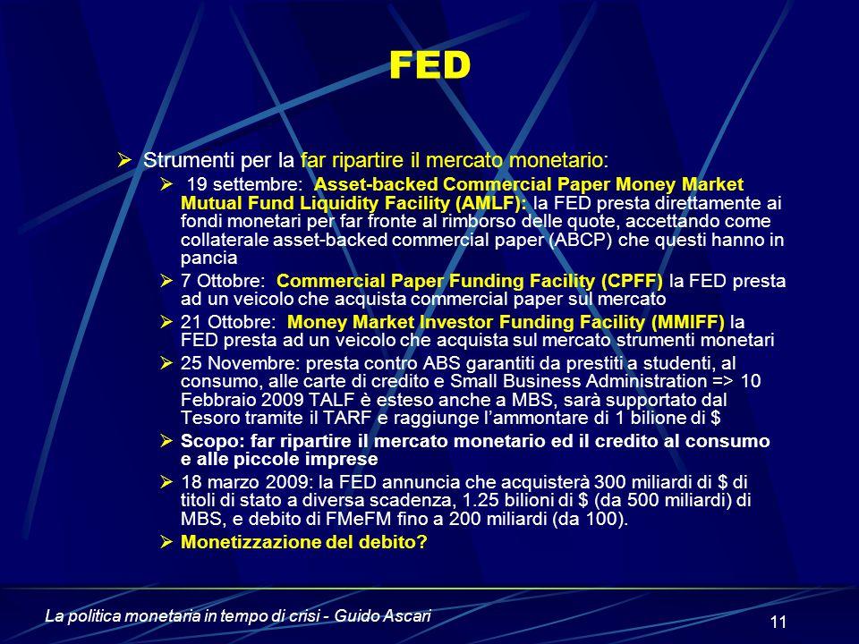 La politica monetaria in tempo di crisi - Guido Ascari 11 FED  Strumenti per la far ripartire il mercato monetario:  19 settembre: Asset-backed Comm