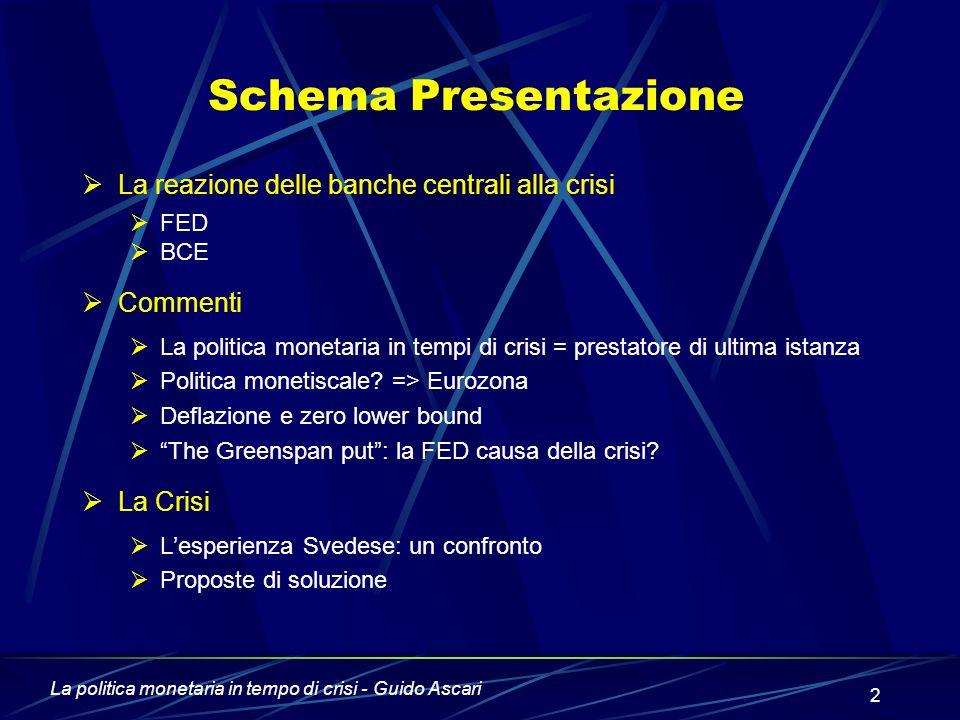 La politica monetaria in tempo di crisi - Guido Ascari 2 Schema Presentazione  La reazione delle banche centrali alla crisi  FED  BCE  Commenti  La politica monetaria in tempi di crisi = prestatore di ultima istanza  Politica monetiscale.