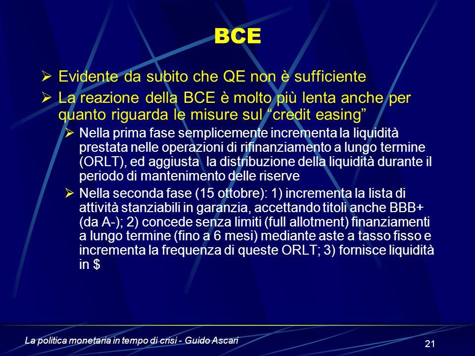 La politica monetaria in tempo di crisi - Guido Ascari 21 BCE  Evidente da subito che QE non è sufficiente  La reazione della BCE è molto più lenta anche per quanto riguarda le misure sul credit easing  Nella prima fase semplicemente incrementa la liquidità prestata nelle operazioni di rifinanziamento a lungo termine (ORLT), ed aggiusta la distribuzione della liquidità durante il periodo di mantenimento delle riserve  Nella seconda fase (15 ottobre): 1) incrementa la lista di attività stanziabili in garanzia, accettando titoli anche BBB+ (da A-); 2) concede senza limiti (full allotment) finanziamenti a lungo termine (fino a 6 mesi) mediante aste a tasso fisso e incrementa la frequenza di queste ORLT; 3) fornisce liquidità in $