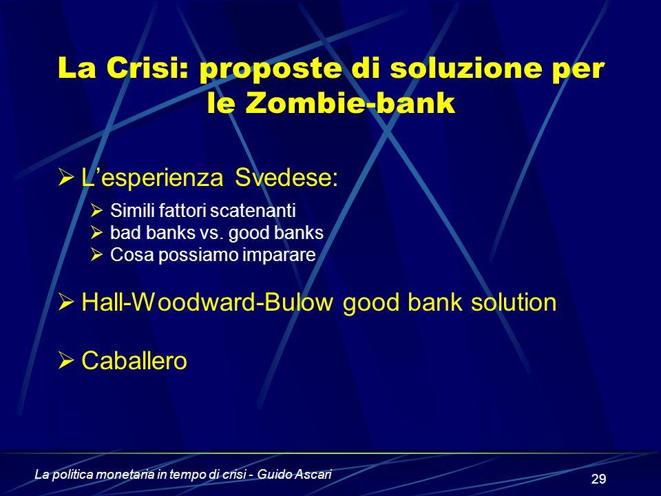 La politica monetaria in tempo di crisi - Guido Ascari 29 La Crisi: proposte di soluzione per le Zombie-bank  L'esperienza Svedese:  Simili fattori scatenanti  bad banks vs.