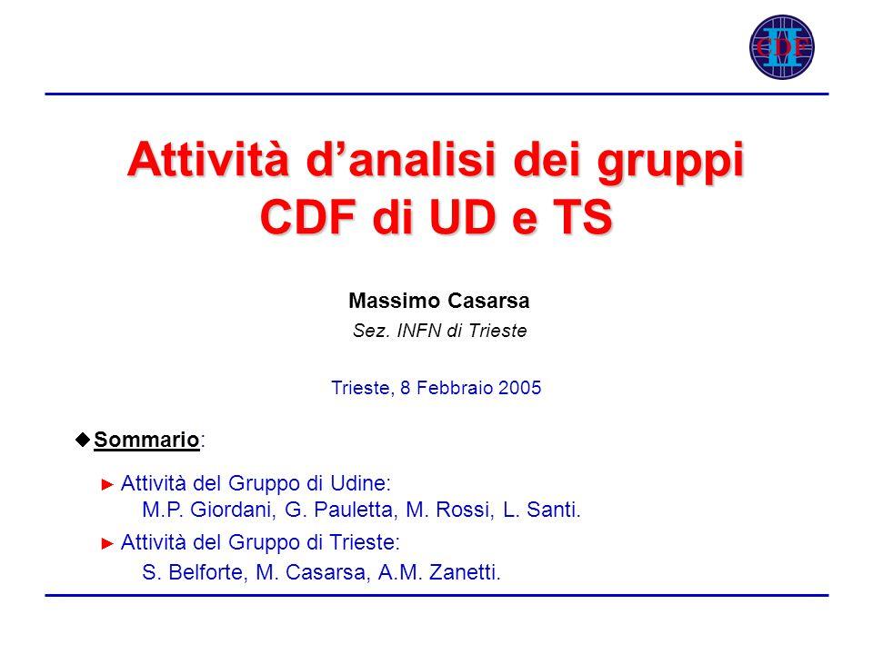 Attività d'analisi dei gruppi CDF di UD e TS Massimo Casarsa Sez.