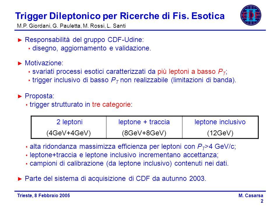 Trieste, 8 Febbraio 2005M.Casarsa 3 Trigger Dileptonico per Ricerche di Fis.