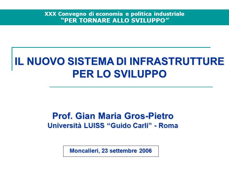 IL NUOVO SISTEMA DI INFRASTRUTTURE PER LO SVILUPPO Moncalieri, 23 settembre 2006 Prof.