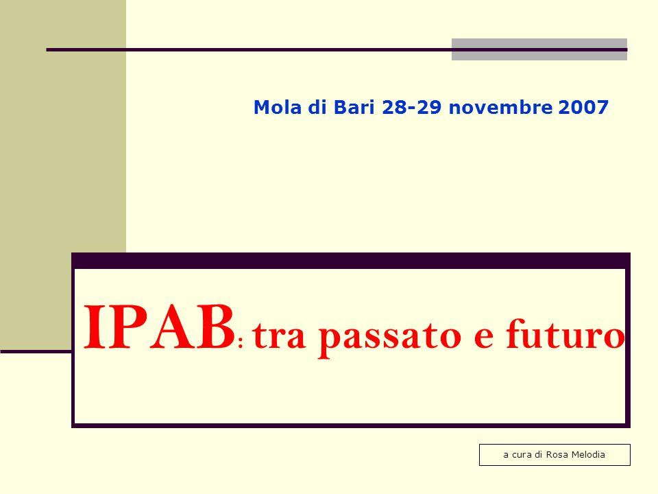 IPAB : tra passato e futuro Mola di Bari 28-29 novembre 2007 a cura di Rosa Melodia